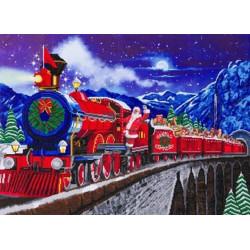 Julemandens Express Tog - 65 x 90 cm XXL Diamant billede