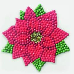Diamant klistermærke Blomst 9x9 cm