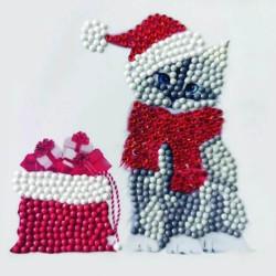 Diamant klistermærke Jule kat grå