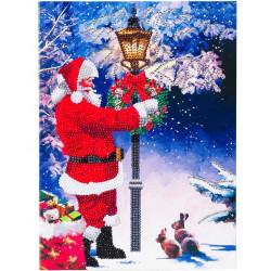Julemand ved lygtepæl - XL Diamantkort 21x29 cm
