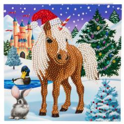Vinter Pony - Diamant kort 18x18 cm