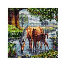 Hest med føl 30 x 30 cm diamantbilledet