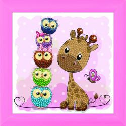 Giraf og venner 18 x 18 cm  cm diamant billede