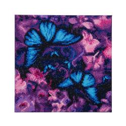blå Sommerfugl og Orkide  30x30 cm Diamant billede