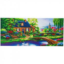 Sommerhus ved søen 40 x 90 cm Diamant billede